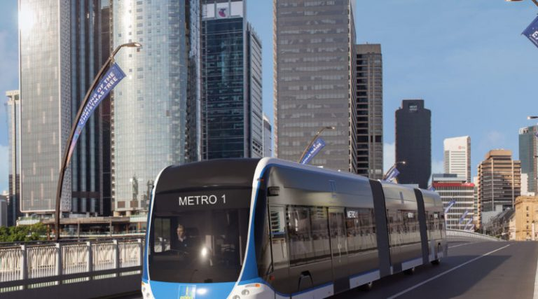 new Electric Metro Transport - looks like a train and a bus combined.