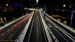 Busy Brisbane roads at night.