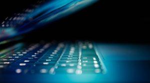 Closeup of a backlit RGB keyboard