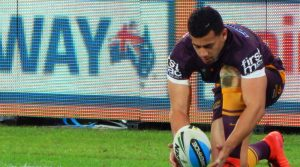 Brisbane Bronco setting up a field goal.