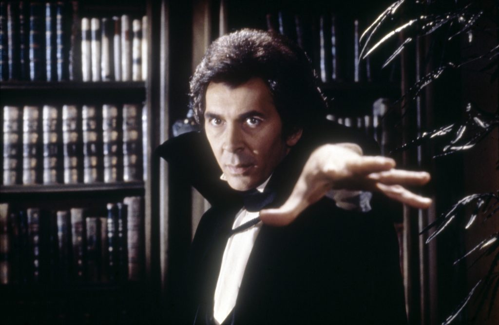 American actor Frank Langella on the set of Dracula, based on the play by Hamilton Deane, and directed by John Badham. (Photo by Universal Pictures/The Mirisch Corporation/Sunset Boulevard/Corbis via Getty Images)