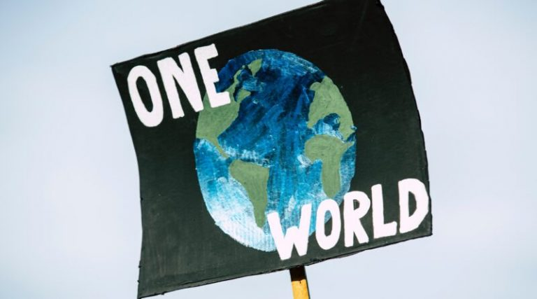 "Protest sign with a drawing of the Planet on it with the words ""One World"""