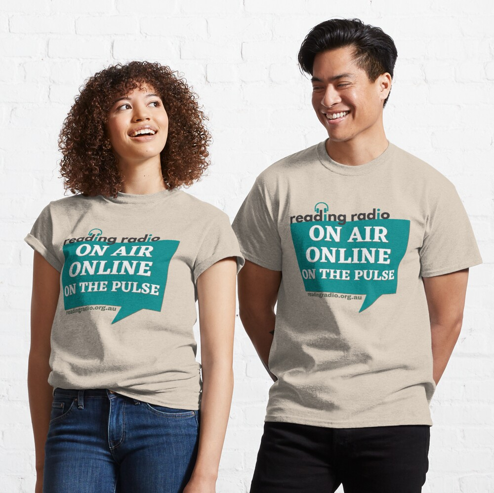 "Two smiling people wearing shirts that read ""Reading Radio, On Air, Online, On the Pulse"""