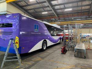 Electric bus in workshop